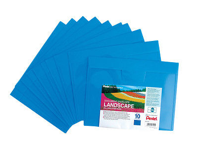 10 x A4 PLASTIC DOCUMENT WALLETS ENVELOPE LANSCAPE Like STUD POPPERS WALLET BLUE