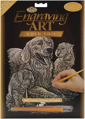 ENGRAVING ART SET - GOLDEN RETRIEVERS (GOLD FOIL) by ROYAL & LANGNICKEL