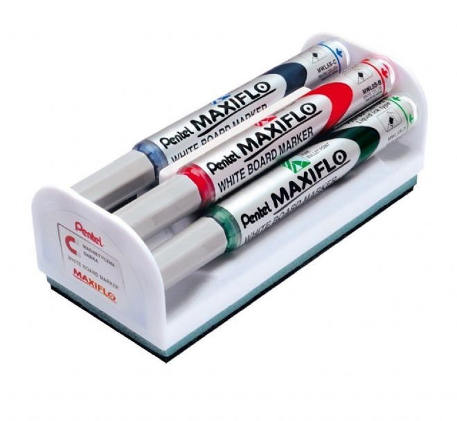 pentel maxiflo medium dry wipe markers magnetic eraser set 4 assorted colours. Black Bedroom Furniture Sets. Home Design Ideas