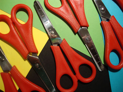 12 x CHILDRENS / KIDS SAFETY SCISSORS WITH RULER EDGE