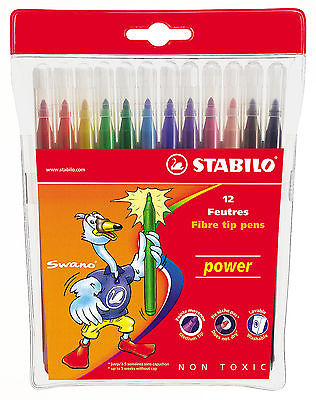 12 x STABILO FELT TIP PENS in Wallet 12 Assorted Colours