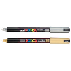 2 x PC-1MR POSCA MARKER PENS by Uni-Ball GOLD & SILVER - 1 of each