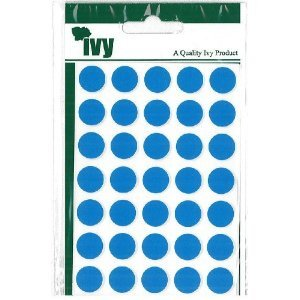 280 STICKY BLUE 13mm LABELS DOTS ROUND CIRCLES SELF ADHESIVE STICKERS by IVY