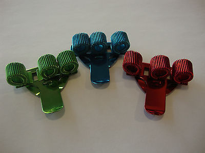 3 x COLOURED TREBLE TRIPLE PEN HOLDER POCKET PEN CLIP Blue, Green, Red or MIXED