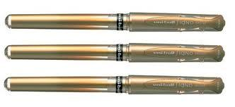 3 x SIGNO GEL IMPACT by Uni-Ball PREMIUM BROAD ROLLER BALL - GOLD SILVER WHITE