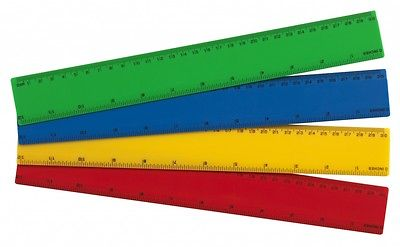 4 X Coloured Rulers 30cm 12 Shatter Resistant Plastic