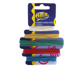 4 x HELIX RUBBER BANDS CARDED size 10, 12, 14, 16 & 18