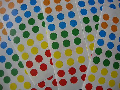 700 Sticky Coloured 8mm Labels Dots Round Circles Self