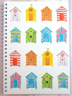 A5 WIRO NOTEPAD BOOK JOTTER BOOK SPIRAL BEACH HUTS DESIGN LINED 100gsm  80 Page