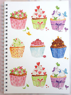 A5 WIRO NOTEPAD BOOK JOTTER BOOK SPIRAL CUPCAKES DESIGN LINED 100gsm  80 Page