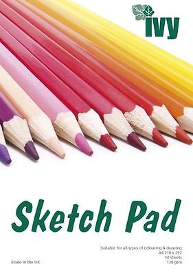 ARTISTS SKETCH BOOK A4 130gsm 50 Sheets Acid Free Premium Quality Paper UK Made