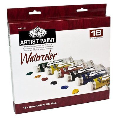 ARTISTS WATERCOLOR PAINTING ART SET OF 18 + 2 BRUSHES BY ROYAL & LANGNICKEL