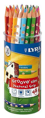 LYRA GROOVE SLIM SIZE TRIANGULAR COLOURING PENCILS FULL SIZE POT of 48