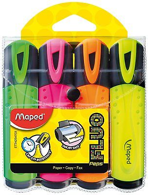 MAPED HIGHLIGHTER PENS CLASSIC FLUO PEPS HIGHLIGHTERS WALLET OF 4