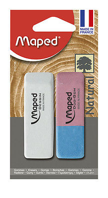 MAPED LARGE NATURAL RUBBER ERASERS  SOFT GRADE PENCIL AND INK ERASERS PACK OF 2