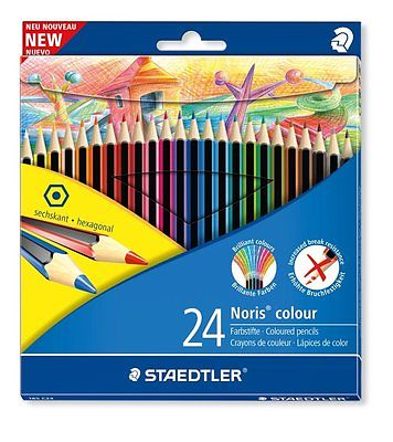 NEW STAEDTLER 24 NORIS WOPEX HEXAGONAL COLOUR PENCILS SET