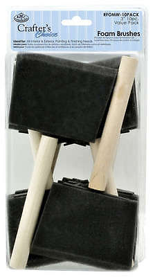 "PACK OF 10 ROYAL & LANGNICKEL ARTIST 75mm/3"" FOAM BRUSHES"