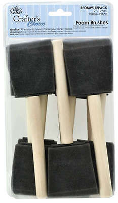 "PACK OF 12 ROYAL & LANGNICKEL ARTIST 50mm/2"" FOAM BRUSHES"