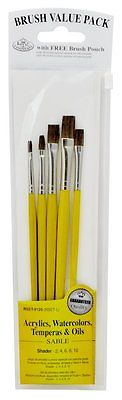 SABLE SHADER BRUSH SET in BRUSH POUCH - 5 Piece Set by Royal & Langnickel