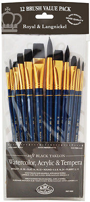 SOFT BLACK TAKLON ROUND BRUSH SET in BRUSH POUCH- 12PC Set by Royal & Langnickel