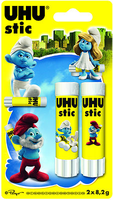 UHU GLUE STICK 8.2g SMURFS DESIGN TWIN PACK- Like Pritt Stick