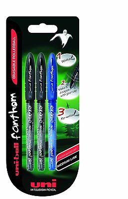 UNI-BALL FANTHOM ERASABLE ROLLERBALL​ 2 X BLACK, 1 X BLUE