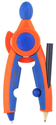 WESTCOTT SOFT TOUCH CHILDREN''S SAFETY COMPASS with PENCIL and RETRACTABLE POINT